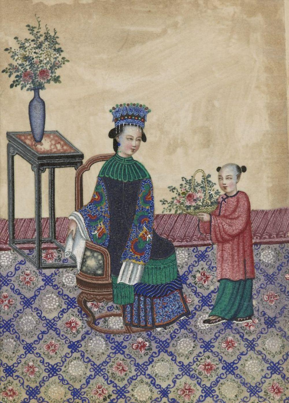A Chinese gouache painting on pith paper, ca.1900, depicting an attendant presenting a basket of flo