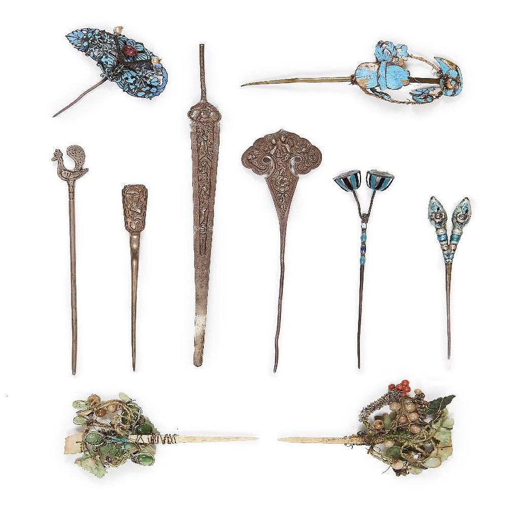 A collection of Chinese hair ornaments and pins