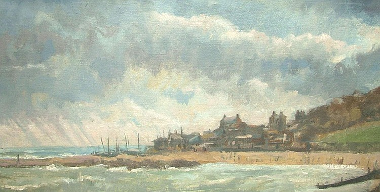 Anthony R Cooke b.1933- Stormy coastal scene; oil