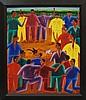 Alberoi Bazile, Haitian 1920-2005- Cockfight;, Alberoi Bazile, Click for value