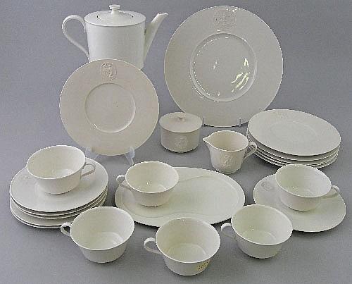 A six place KPM part tea service of neo classical