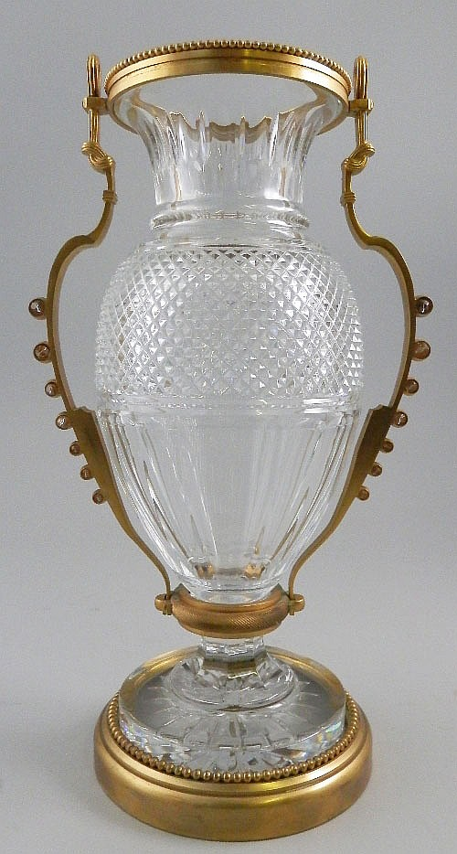 A large Baccarat cut glass and gilt metal mounted