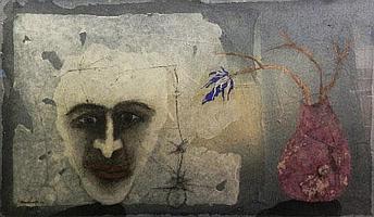 "Manu Parekh, Indian b.1939- ""The Poet III""; mixed"