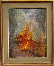 Eve Goldsmith-Coxeter, British b.1928- ''Bon Fire''; oil on board, signed and dated '73, bearing han