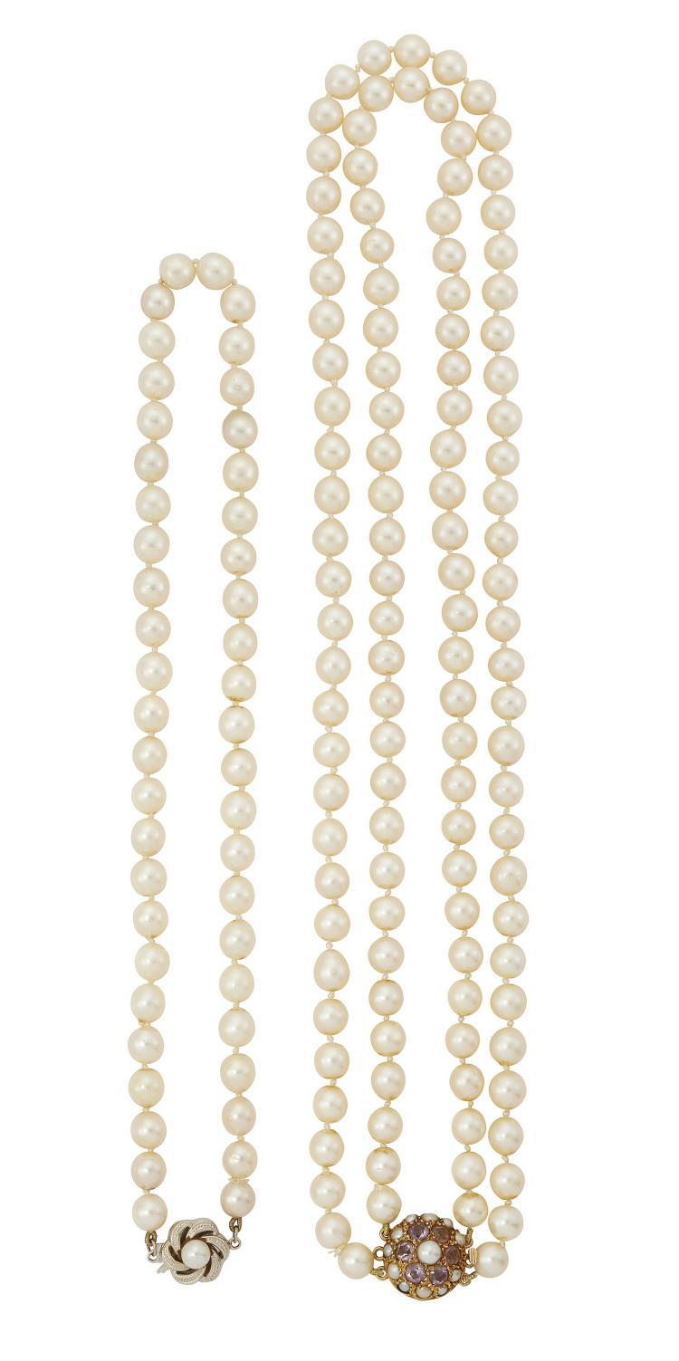A cultured pearl two-row necklace and a cultured pearl single-collar necklace, the first composed of two rows of uniform cultured pearls, each approximate diameter 6.5mm, to a 9ct. gold, amethyst and cultured pearl circular cluster clasp, 44cm long; and a choker-length cultured pearl single row necklace, each approximate diameter 6.5mm, to a cultured pearl single stone clasp, 37.5cm long, with Ciro box