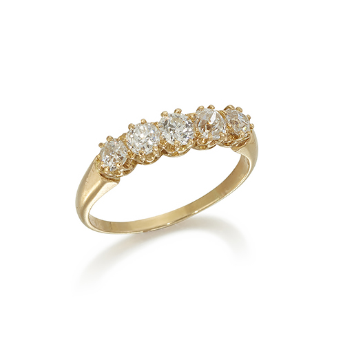 A diamond five stone ring, of half-hoop design, set with five claw-set old-brilliant-cut diamonds, to a plain hoop, ring size P