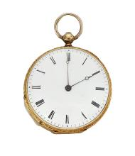 A 19th century gold openface fob watch, the white enamel dial with Roman numerals, and blued steel hands, cylinder movement, the engine-turned case with vacant cartouche, 32mm