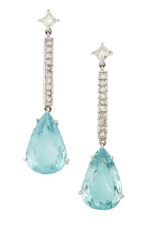 A pair of aquamarine and diamond drop ear pendants, each designed as a claw-set pair-shaped aquamarine drop to a circular-cut diamond line bar and princess-cut diamond stud suspension, 5.5cm long