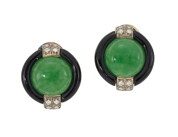 A pair of jadeite, diamond and onyx earclips, each set with single bouton jadeite jade within black onyx border and circular-cut diamond four stone band shoulders, clip and post fittings, 1.9cm diam (Please note that the jade has not been tested for natural colour)