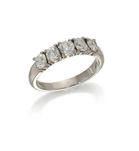 A diamond five stone diamond ring, of half-hoop design, the old cut diamonds in claw set in 18ct white gold mount, approximate total weight of diamonds, 1.05 carats, ring size L