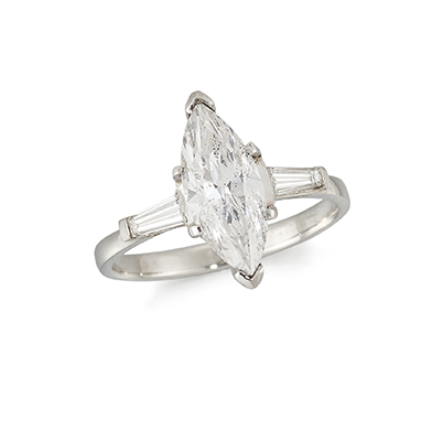 A diamond single stone ring, the claw-set marquise diamond weighing approximately 1.56 carats, with baguette diamond single stone shoulders to a plain hoop, ring size L (Please note that the diamond has been laser drilled to improve clarity)