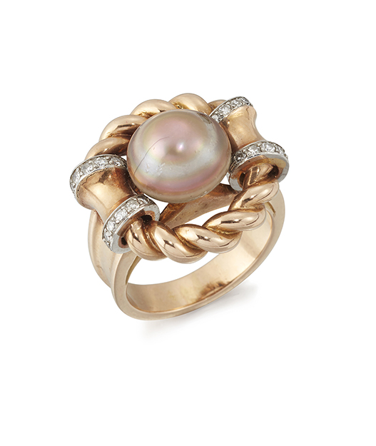 A French pearl and diamond ring, the single grey bouton pearl set within ropework border with saddle shaped shoulders platinum-set with single-cut diamonds to a fluted hoop, circa 1940, French assay marks, ring size L