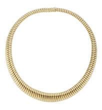 An Italian tubogas collar necklace, of graduated flexible design and typical ribbed sections, 39.5cm long