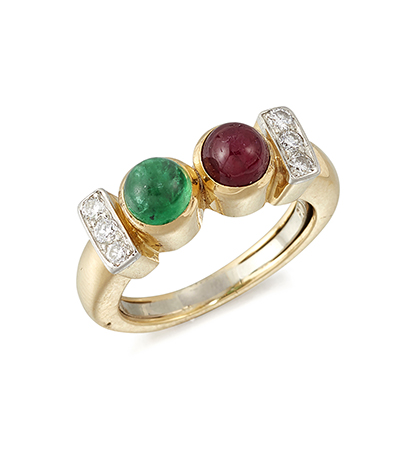 A ruby and emerald ring, by David Webb, designed as a collet-set cabochon ruby and emerald two stone half-hoop with circular-cut diamond three stone shoulders in two colour mount, ring size K