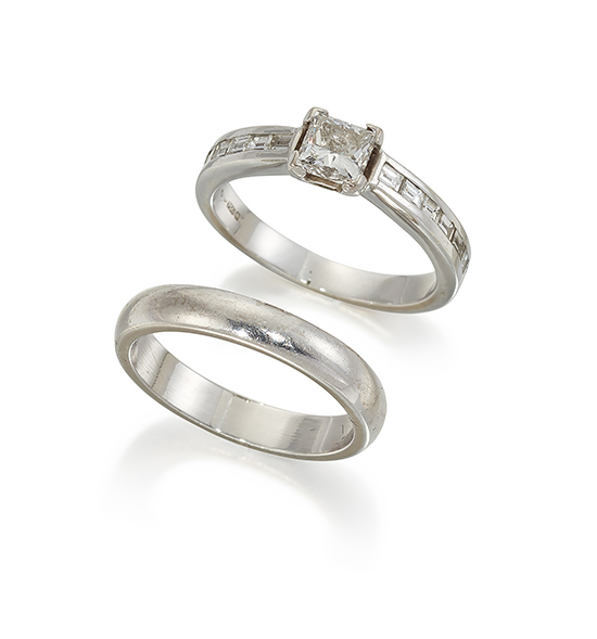 An 18ct. white gold, princess-cut diamond single stone ring and 18ct. gold band ring, the claw-set princess-cut diamond weighing approximately 0.40 carats, with baguette-diamond seven stone shoulders, ring size, K; and 18ct. white gold band ring, approximate weight 4.3g