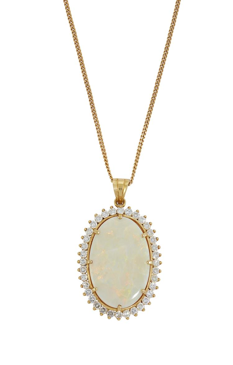 An opal and diamond pendant necklace, the oval opal in claw-set mount with circular-cut diamond line surround to a pendant loop and fine curb-link neckchain, approximate dimensions of opal 30mm x 20mm, neckchain 60cm long