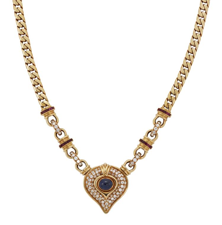 A diamond, sapphire and ruby necklace, of flattened curb-link design suspending a circular-cut pavé diamond heart-shaped panel with central collet-set cabochon sapphire to circular-cut diamond and calibré ruby cable-link shoulders, 41cm long Purportedly purchased from Chaumet by the current owner