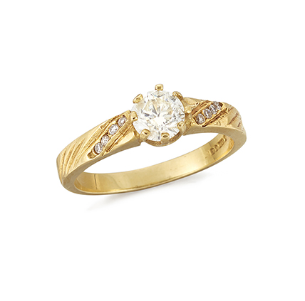 An 18ct. gold, diamond single stone ring, the circular-cut diamond weighing approximately 0.50 carats, to circular-cut diamond four stone striated shoulders, ring size N
