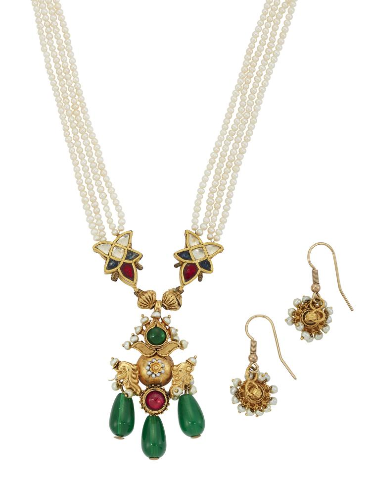 A 20th century, Indian gem and paste pendant necklace, in the form of a central decorative panel the central domed motif with scrolling shoulders and seed pearl detail with foiled gem collets, suspending triple green glass drops to foiled green gem surmount and foiled gem star motif shoulders to a cultured pearl triple-row necklace and cord fastener; and a pair of matching seed pearl pendant earrings (3)
