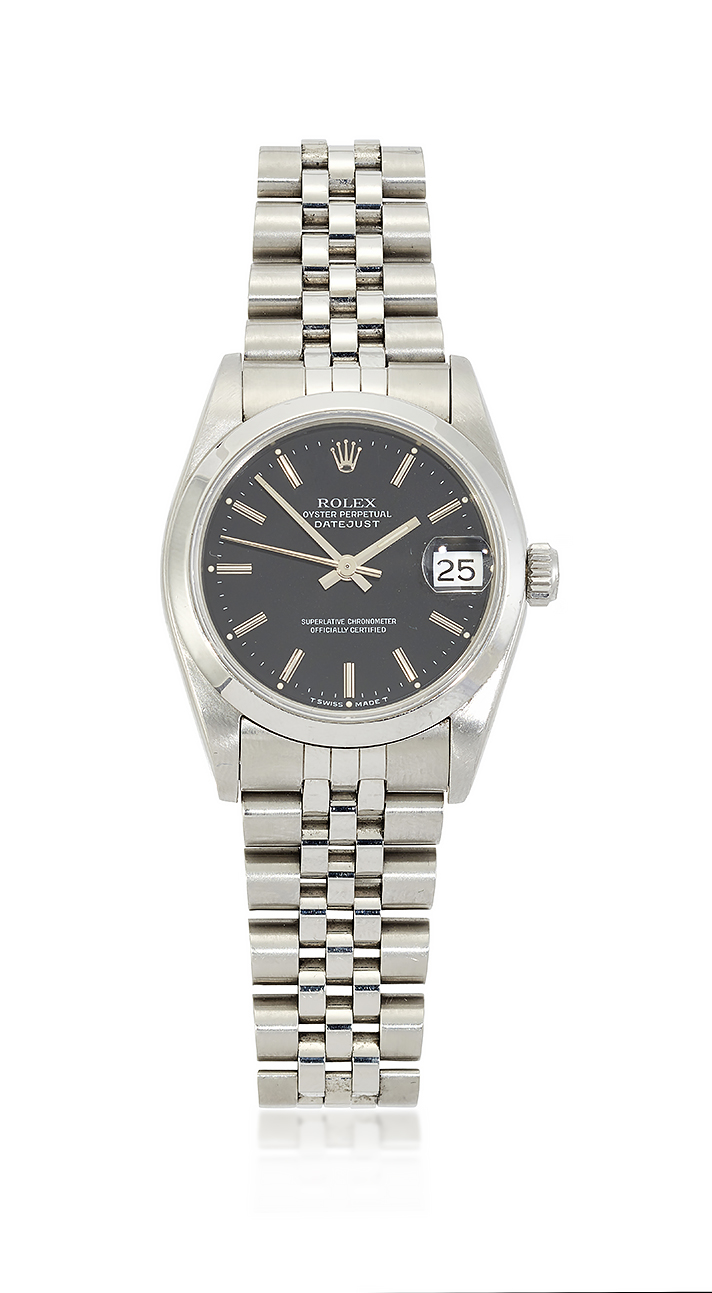 A lady's stainless steel 'Oyster Perpetual Datejust' automatic wristwatch, by Rolex, Ref. 285094, the black dial with silvered baton markers, sweep seconds and date aperture, signed Rolex Oyster Perpetual Datejust, the tonneau shaped case with screw down crown, screw on back and turned down lugs, to 'Rolex' bracelet with deployant clasp, circa 1996, inner bracelet circumference approximately 16cm, case 30mm, additional links, maker's case, card box and documents