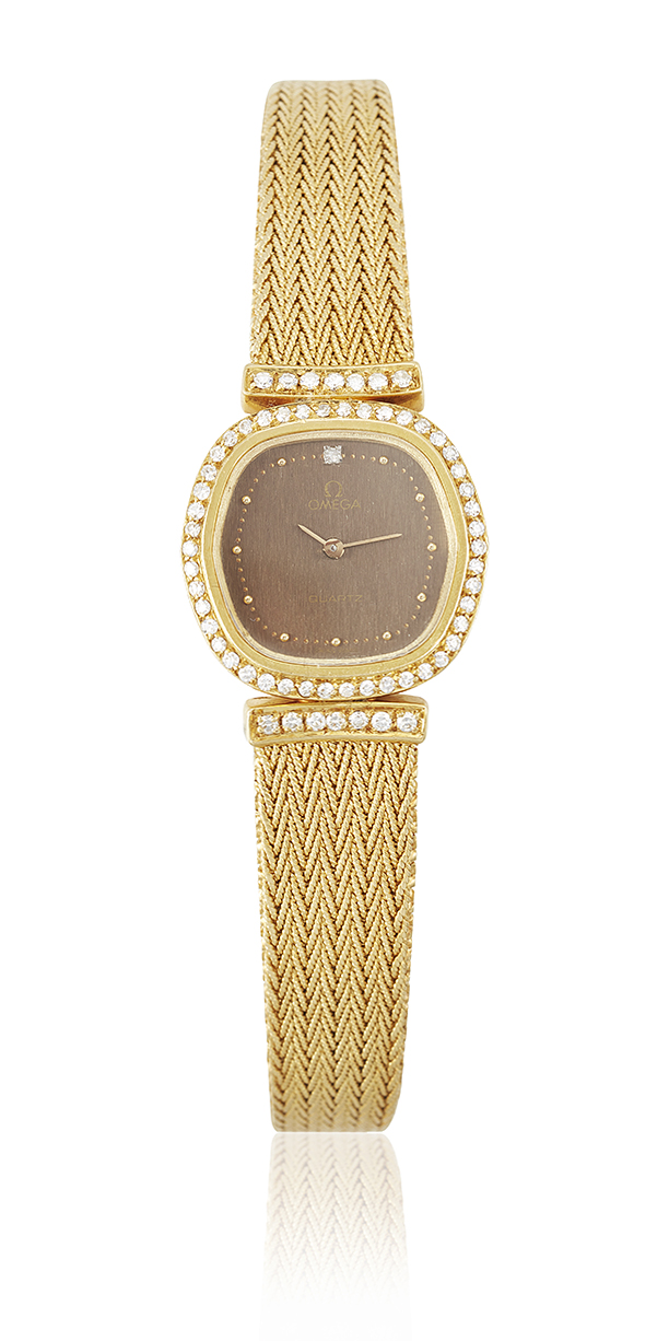 A diamond-set quartz wristwatch, by Omega, the cushion-shaped bronzed dial with raised dot markers and single-cut diamond 12, signed Omega, within single-cut diamond bezel and line shoulders, snap on back with quartz movement to a tapering flexible bracelet the clasp with raised 'Omega' logo, case 23mm, bracelet 17cm (two extra sections each 8mm)
