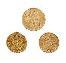 A gold, Edward III quarter- noble, a sovereign and half sovereign, the quarter-noble with cross pattee mint mark for 1356-61, F; a Queen Elizabeth II sovereign, 1968,  VF; and an Edward VII half-sovereign, 1910, F (3)