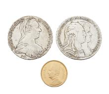 A group of coins, comprising: an Egyptian gold 100 piastres, 1922; a silver trade Maria Theresa re-strike Thaler, 1780;  and a silver Italian States, Naples, Sicily 1 piastra, Ferdinand IV, 4th type, 1791, in presentation case (3)