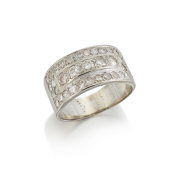 A Swedish, diamond half-hoop ring, designed as a central row of circular-cut diamonds within a circular-cut diamond geometric border to a broad tapering hoop, Swedish assay marks, ring size R