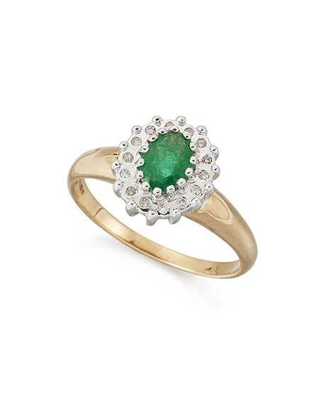 A 14ct. gold, emerald and diamond cluster ring, the single claw-set oval emerald with single-cut diamond border, ring size P