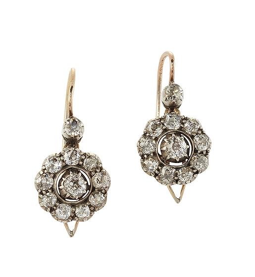 A pair of 19th century diamond earpendants, each with old-brilliant-cut diamond circular cluster drops suspended from a brilliant-cut diamond collet, circa 1890, 2.2cm long