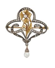 A French Art Nouveau diamond brooch, of trefoil openwork design, composed of  rose-cut diamond loops and central gold, chased and engraved flower motif and central old-brilliant-cut diamond and diamond bud, suspending a rose-cut diamond set single pearl drop, gold and silver mounts, circa 1900, 39mm wide, fitted case