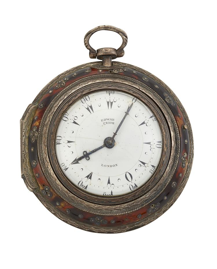 A 19th century silver and tortoiseshell triple-cased Turkish market verge pocket watch, by Edward Prior, with white enamel dial set with Turkish numerals, beetle and poker hands signed Edward Prior London, the fusee movement with pierced and engraved cock and pierced scroll decorated Egyptian pillars, signed Edw. Prior London, no. 42438, the inner and second case hallmarked for London, 1816, inner case 38mm, outer tortoiseshell case 59mm, in leather covered wooden case Provenance: Christies Lot 262, 18.7.79