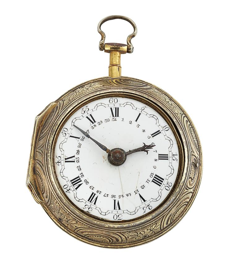 An 18th century silver-gilt pair cased verge pocket watch, the continental white enamel dial with Roman numerals and outer Arabic minute ring, beetle and poker hands and third hand for calendar date register, the gilt verge escapement with pierced foliate bridge cock and square pillars, signed Thos. Gould, London, number 269, the inner case with London hallmarks, 1785, numbered 269, case maker's initials T.S., the silver gilt outer engraved and repousse case depicting classical figures within cartouche, (glass deficient), case 55mm