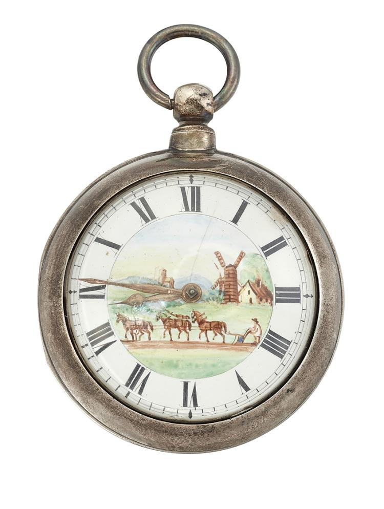An 18th century English silver pair cased verge pocket watch, by GH Hukins, the white enamel dial with Roman numerals gilt hands and central painted enamel scene of a man ploughing a field with windmills in the background, the verge escapement with pierced balance cock, three arm balance wheel, fusee and columnar pillars, signed G.H. Hukins, Penterden, number 50530, London hallmarks, 1865, 55mm