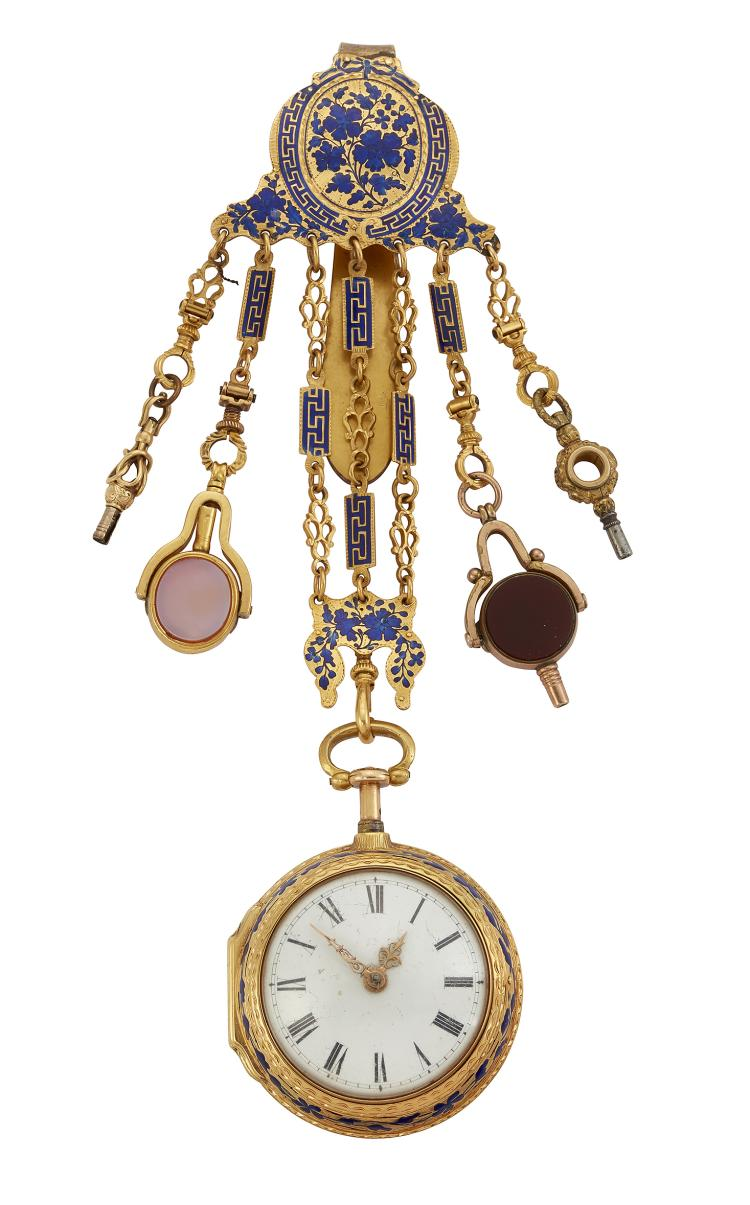 A fine 18th century gold and enamel pair cased verge quarter repeating open face pocket watch, by Marie Comparet, with matching chatelaine, the later 19th century white enamel dial with Roman numerals, decorative hands, the verge escapement with pierced foliate balance cock and foot with rose-cut diamond end stone and three arm balance wheel and cap, two hammers and inner bell signed Dury, round pillars, signed Marie Comparet, number 134, the pierced and engraved case with champleve enamel foliate decoration, in matching gold and blue enamel outer case with blue enamel monogram, case 43mm, to a matching gilt and blue enamel chatelaine, suspending later watch keys, circa 1770