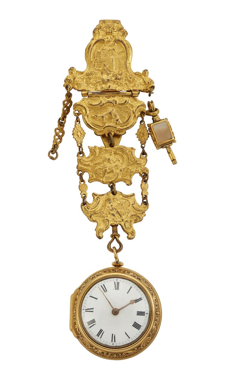 A fine early 18th century gold pair cased verge pocket watch, by Ellicot, and gilt chatelaine, the white enamel dial with Roman numerals and gilt hands, the gilt cylinder escapement with pierced foliate balance cock, rose-cut diamond end stone and three arm balance wheel, and pierced Egyptian pillars, signed Ellicot, London, number 6232, in later gold gold case numbered 8346, the outer gold case or repousse depicting classical female figures of Nike and Venus, the bezel chased and engraved with shells and foliage, London hallmarks, 1733, case 49mm, to a gilt chatelaine, suspending a gold cased agate and foiled amethyst watch key