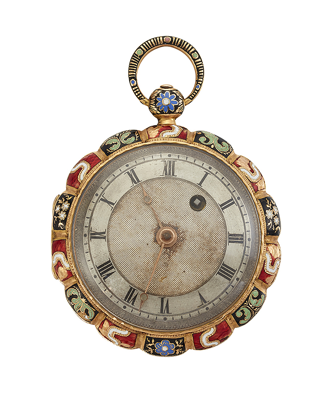 A late 18th early 19th century Swiss gold and enamel scallop form keywind fob watch, the silver engine-turned dial with Roman numerals and gilt hands, the unsigned verge movement with fusee and pierced bridge cock, champleve polychrome enamel scallop bordered case, circa 1820, case 41mm