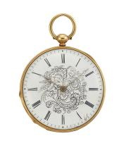 A 19th century gold open face key wind pocket watch, the white enamel dial with Roman numerals and central black painted ornate monogram, cylinder escapement, the case engine-turned with central vacant circular cartouche, circa 1890, case 40mm