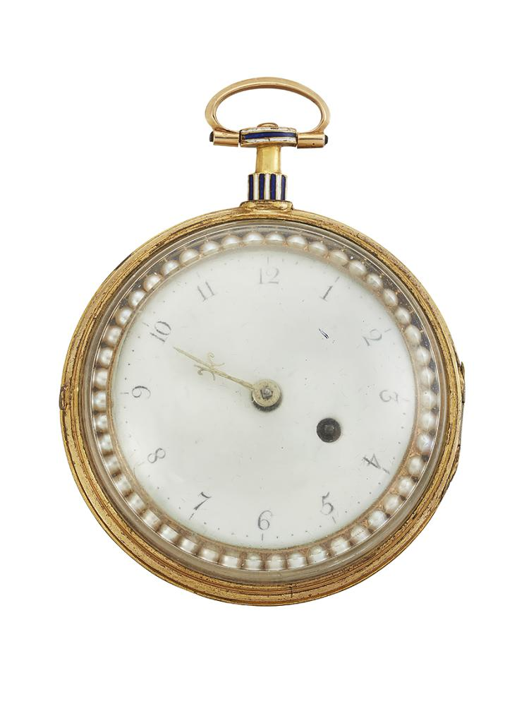 A late 18th century gold pair cased openface verge pocket watch, by Richard Clark, the white enamel dial with Arabic numerals, within half-pearl and the gilt verge escapement with fusee, pierced balance cock foliate engraved foot and rose-cut diamond end stone, signed Richard Clark, Cheapside, number 1063, the reverse with later dark blue enamel within half-pearl border, blue and white striped enamel pendant, in outer protective glazed case, circa 1790, case 54mm