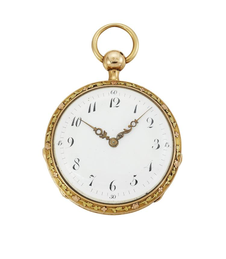An early 19th century Continental gold and enamel openface quarter repeating pocket watch, by Bouhelier, the later white enamel dial with Arabic numerals and fancy gilt hands, the skeletonised lever movement with blued steel balance wheel , signed Lisinka, the repeat mechanism with twin hammers and operated by depressing the pendant button, the cuvette signed Bouhelier, the case back with painted Swiss enamel scene of a courting couple in rural scene, in probably French three colour-gold chased and engraved case, circa 1830, case 45mm
