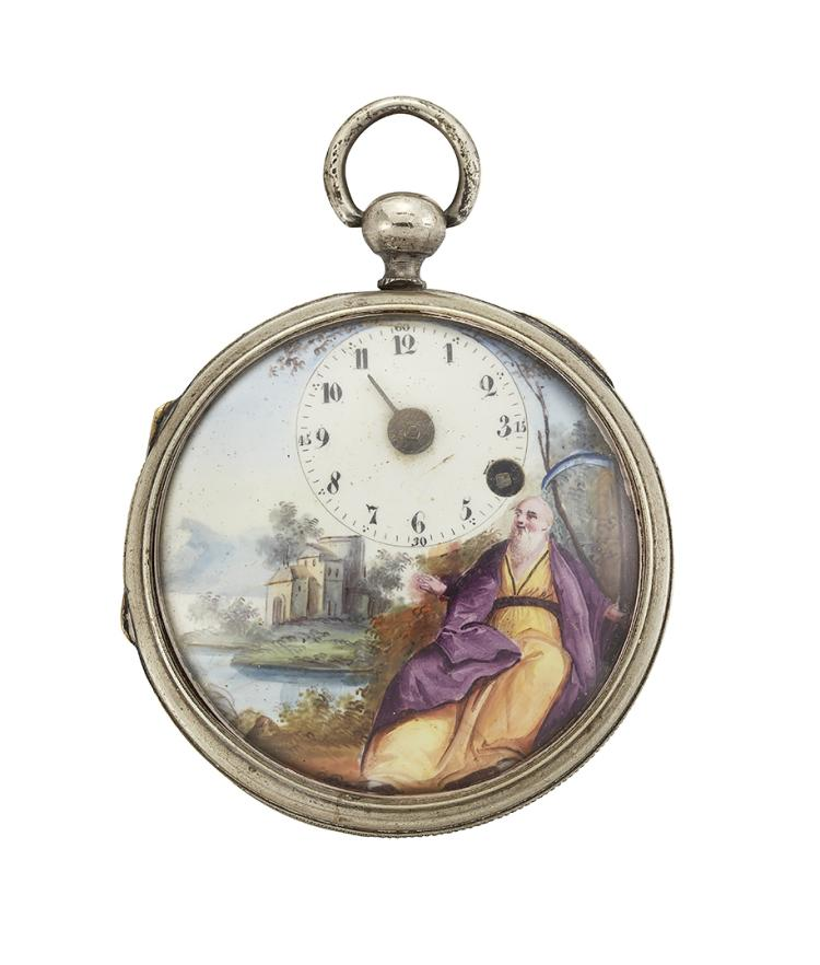 An 18th century Swiss nickel-plated open-face key-wind pocket watch, by Wifs & Menu, the off-centre white enamel dial with Arabic numerals, painted enamel to depict Old Father Time, the verge movement with fusee and pierced bridge cock signed Fs Wifs & Menu, Geneve, number 14074, circa 1830, case 51mm