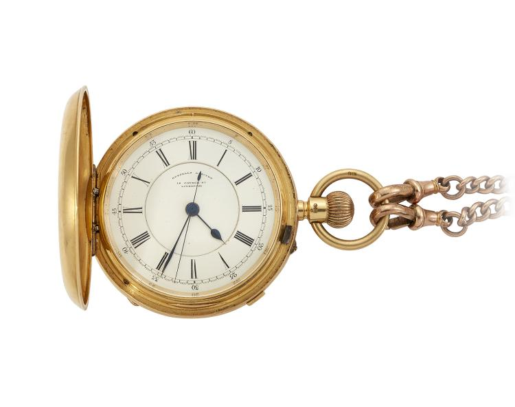 An 18ct. gold hunter case centre seconds stopwatch and a 9ct gold watch chain and fob, the pocket watch with white enamel dial Roman numerals, signed Russells Limited, blued steel hands and sweep seconds operated by a button in the band, the gilt, the keyless jewelled lever movement with bi-metallic compensated balance signed Russells Limited, Church Street, Liverpool, maker's to the late Queen, in plain case, Chester hallmarks, 1907, case 54mm; and a 9ct. gold curb-link watch chain suspending a Masonic fob, gross weight 40.8g (2)