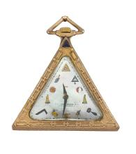 An early 20th century gilt Masonic pocket watch the triangular mother-of-pearl dial with printed coloured Masonic symbol markers and black painted hands, the keyless jewelled lever movement signed Solvil Watch Co, in triangular case with hinged case back and raised Masonic symbols, triangular pendant, circa 1930, case 50mm x 50mm