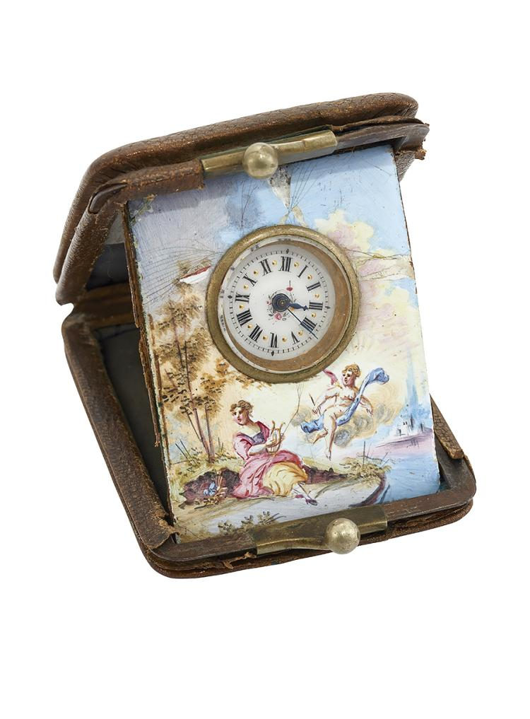 A late 19th century purse travel watch with painted enamel surround, the circular white enamel dial with Roman numerals to gilt bezel mounted within a painted Swiss enamel panel depicting Erato and putti in a lakeside scene, housed within small purse, circa 1860, 41mm x 54mm