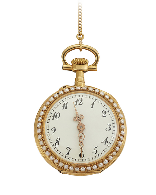 A 19th century Swiss gold, enamel, and seed pearl open face fob watch, the circular white enamel dial with Arabic numerals and gilt decorative hands within seed pearl bezel, the gilt, the keyless jewelled lever movement with bi-metallic compensated balance wheel, the case back with painted Swiss enamel portrait of a noble lady wearing plumed hat, within seed pearl border, the cuvet engraved Z. Barraclough and Sons, Leeds, circa 1900, case 21mm