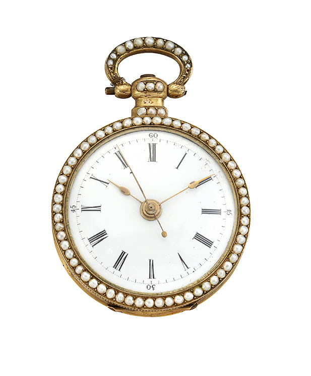 A 19th century Swiss gold, enamel and seed pearl fob watch, the white enamel dial with Roman numerals and sweep seconds, within seed pearl bezel, gilt cylinder movement, the case back enamelled with a portrait of a noble lady against a dark blue ground, to a seed pearl pendant, circa 1850, case 32mm