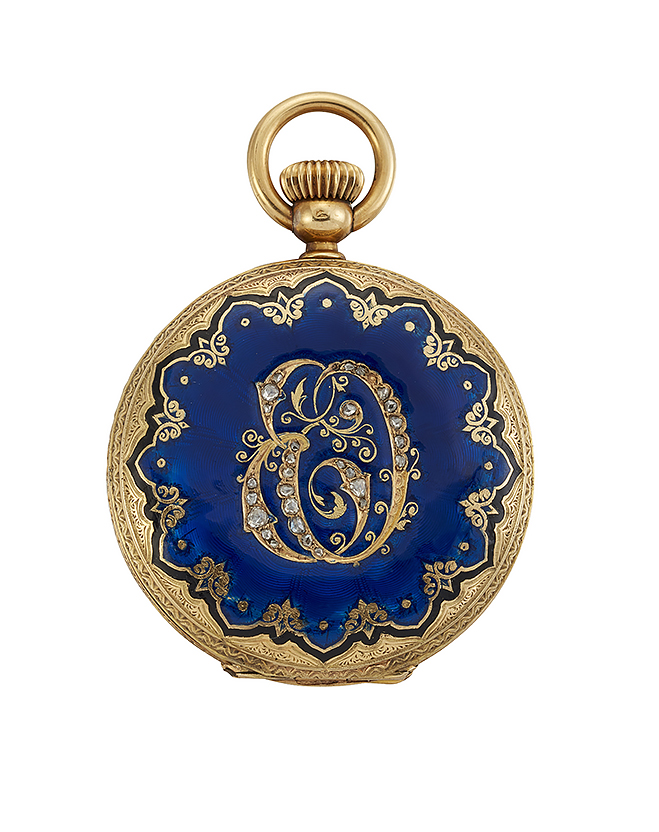 A late 19th century gold and enamel and diamond hunter case keyless lever fob watch, the white enamel dial with Roman numeral and blued steel moon hands, the gilt, jewelled lever movement with bi-metallic compensated balance, the engraved case front with dark blue enamel decoration and central rose-cut diamond monogram, the case back with matching blue enamel decoration, circa 1890, case 37mm