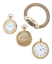 Three late 19th and early 20th century  gold fob watches and lady's rolled gold and paste wristwatch, the first an openface  keywind cylinder fob watch, the white enamel dial with Roman numerals and blued steel hands, cylinder movement, foliate engraved case, pendant loop deficient; the second an openface keyless cylinder fob watch the engraved dial with Roman numerals, blued steel hands, cylinder movement, and foliate engraved case, gilt cuvet; the third a 9ct. gold, openface keyless lever fob watch, the white enamel dial with Arabic numerals, jewelled lever movement and plain case; and a lady's rolled gold wristwatch the silvered dial with applied Arabic and spear-point numerals, with domed crystal and colourless paste-set hinged dial cover, to a flexible snake-link bracelet, circa 1950 (4)