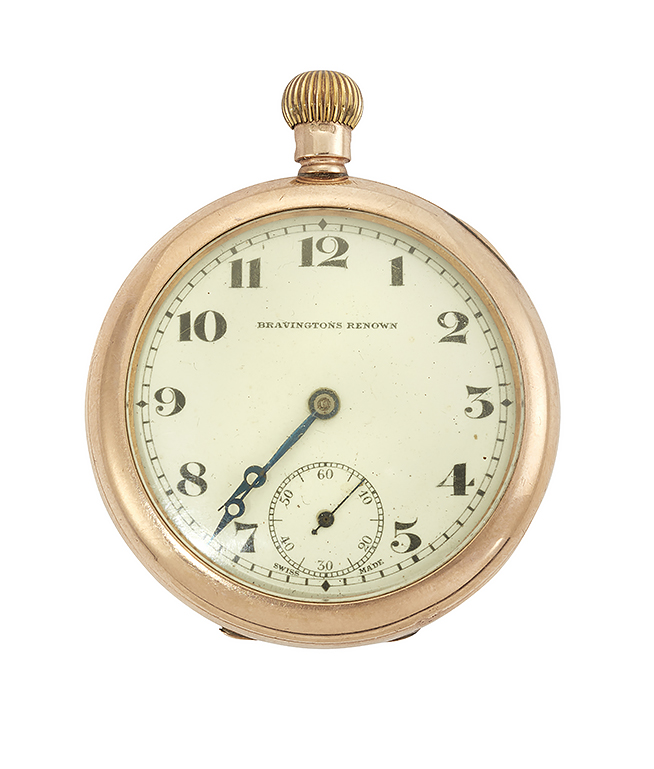 A 9ct. gold keyless lever openface pocket watch and watch chain, the watch with white enamel dial, Arabic numerals and subsidiary dial for constant seconds, the nickel jewelled lever movement with bi-metallic balance cock, in plain case, pendant loop deficient, case 46mm; and a gold fancy belcher-link watch chain, 36cm long, Gross weight 25.7g (2)