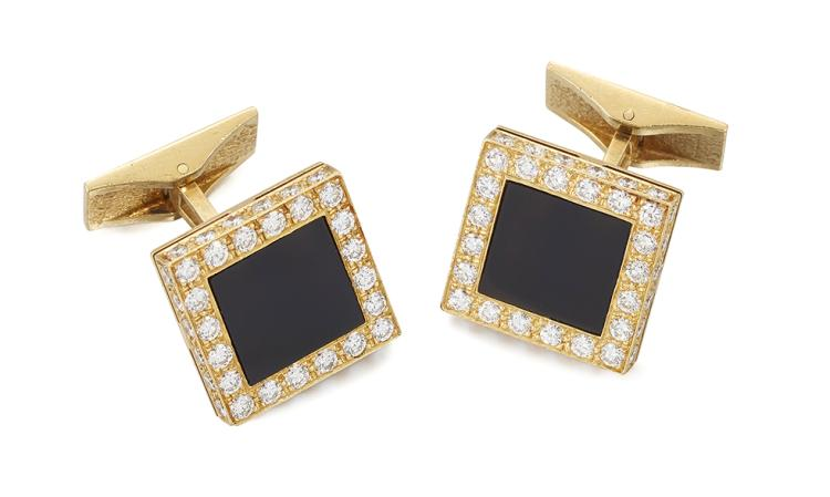 A pair of diamond and onyx cufflinks, each designed as a square panel of onyx with circular-cut diamond line border and edge detail, to opposing brushed rectangular hinged panel, signed Piaget, French import marks, 12mm x 12mm